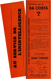 Access to Isabelle Waldberg's texts. Both sides of a promotional leaflet accompanying the last issue of 'Da Costa' (April 1949).